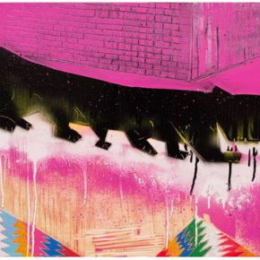02 Pang Xinsen The Black Cat Going Downhill mixed techniques on wooden board 45.6 × 98.5 cm 2017 290x290 - 2017 Tianjin Youth Art Week: Connecting the Current Era and Urban Life