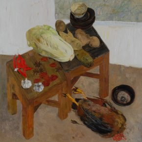 08 Dai Shihe, Mao Zedong's Small Table at Yangjialing Cave in Yan'an, oil on canvas, 120 x 120 cm, 2009