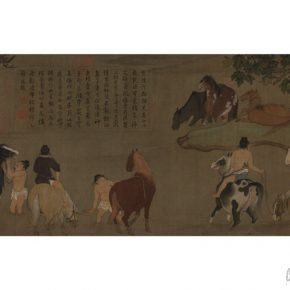 "08 Zhao Mengfu Bath Horses Scroll Yuan Dynasty ink and color on silk 28.5 × 154 cm in the collection of The Palace Museum 290x290 - Shao Yan: ""The Guide to the Zhao Mengfu and Wang Ximeng's Dream World – Beijing Palace Museum Annual Exhibition"""