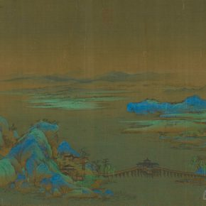 "09 Wang Ximeng A Panorama of Rivers and Mountains Scroll details Northern Song Dynasty ink and color on silk 51.1 x 1191.5 cm once collected by the former Qing Court 290x290 - Shao Yan: ""The Guide to the Zhao Mengfu and Wang Ximeng's Dream World – Beijing Palace Museum Annual Exhibition"""