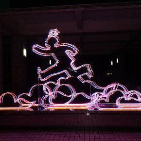 "10 Wang Shaojun's sculpture was taken as the prototype to create a lighting work 290x290 - To Be a Real Hero of Life: Wang Shaojun's Solo Exhibition ""It's Me"" in Changsha"
