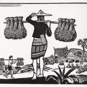 "10 Zhao Ruichun Harvest of Li People black and white woodcut 1963 290x290 - ""Vibrant Sincerity – The Exhibition of Artworks Donated by Zhao Ruichun"" opened at CAFA Art Museum"