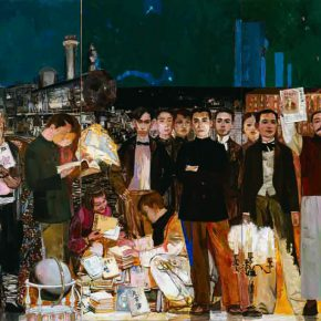 16 Dai Shihe, Dawn of the Oriental – Early Organization of the Communist Party, oil on canvas, 200 x 600 cm, 2011 (the first – 3rd on the left)