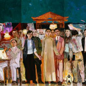 17 Dai Shihe, Dawn of the Oriental – Early Organization of the Communist Party, oil on canvas, 200 x 600 cm, 2011 (the 4th – 6th on the left)