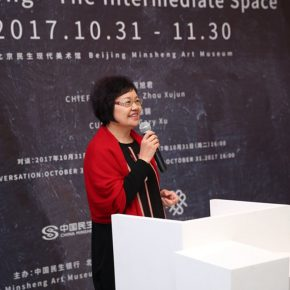 "02 Zhou Xujun Director of Beijing Minsheng Art Museum addressed the opening ceremony 290x290 - ""Guan Yong – The Intermediate Space"": A Fable about Creation and Viewing Methods"