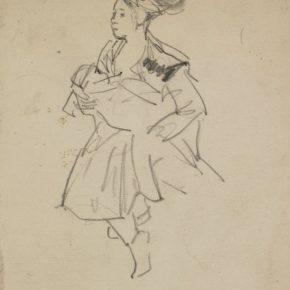 03 Tian Shixin, A Miao Girl Embracing a Child, pencil on paper, 13 × 18 cm, 1984