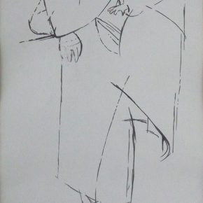 04 Tian Shixin, A Woman Carrying a Child on Her Back No.2, pen on paper, 17 × 28 cm, 1984