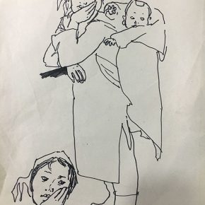 05 Tian Shixin, A Woman Carrying a Child on Her Back No.1, pen on paper, 17 × 28 cm, 1984