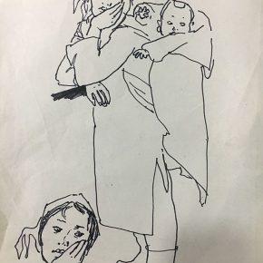 05 Tian Shixin A Woman Carrying a Child on Her Back No.1 pen on paper 17 × 28 cm 1984 290x290 - Tian Shixin