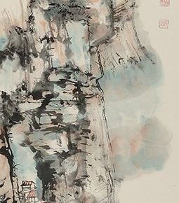 "09 Jao Tsung I A Sketch of Gaolan Mountain Chinese painting ink and color on paper 137 x 34 cm 1987 in the collection of National Art Museum of China 255x290 - The ""Glamour of Jao's Lotus: Touring Exhibition of Lotus-themed Artworks by Professor Jao Tsung-I"" opened in the National Art Museum of China"