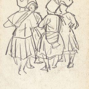 14 Tian Shixin, Miao Women Going to the Market, charcoal pencil on paper, 12 × 16 cm, 1984