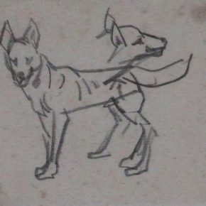 21 Tian Shixin, A Wolfhound, pencil on paper, 14 × 12 cm, 1973
