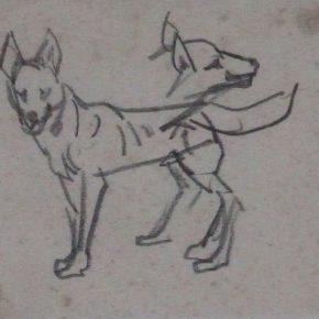 21 Tian Shixin A Wolfhound pencil on paper 14 × 12 cm 1973 290x290 - Tian Shixin