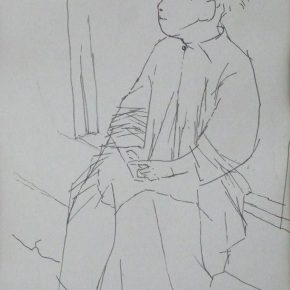 23 Tian Shixin, A Child Sitting in Front of a Door, pen on paper, 20 × 29 cm, 1984