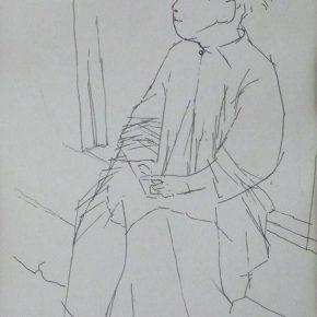 23 Tian Shixin A Child Sitting in Front of a Door pen on paper 20 × 29 cm 1984 290x290 - Tian Shixin