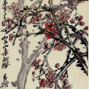 "30 Wu Changshuo Red Plum 137 × 43.5 cm Chinese painting donated by the families of Lao She Hu Jieqing who collected it 290x290 - ""Beauty in the New Era"": Special Exhibition of the Collection of NAMOC Presents the Context of Modern Chinese Art"