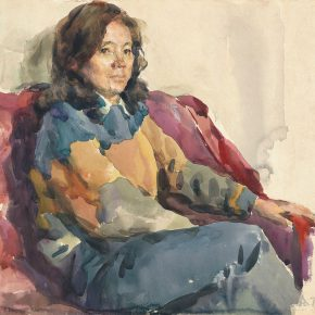 33 Tian Shixin, Portrait of My Wife, watercolor on paper, 35 × 38 cm, 1984