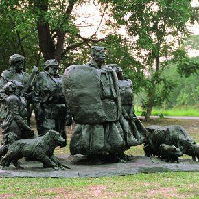 36 Tian Shixin, Sound of the Mountain series No.1, copper, 260 × 400 × H220 cm, 1994, Wukesong Sculpture Park