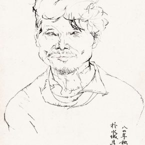 39 Tian Shixin, A Watertown Farmer, pen on paper, 18 × 24 cm, 1984