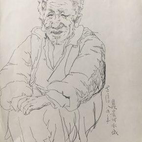 41 Tian Shixin, Sketching in Watertown, pen on paper, 22 × 30 cm, 1984