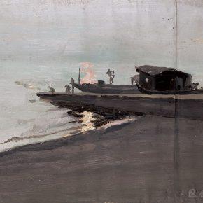 49 Tian Shixin, Sketching of Jin River in Tongren, oil on canvas, 39 × 46 cm, 1981