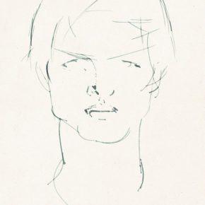 51 Tian Shixin, Portrait of Little Chunyuan, pen on paper, 18 × 25 cm, 1984