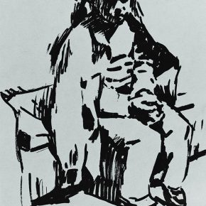 52 Tian Shixin, Portrait of My Little Daughter, pen on paper, 10 × 14 cm, 1986