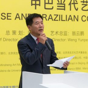 "01 Chen Jinzhong Secretary of Committee for Discipline Inspection of China Minsheng Bank addressed the opening ceremony 290x290 - Brazilian Art Landed in China: ""Troposphere"" Chinese and Brazilian Contemporary Art Exhibition opened"