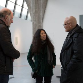 """04 Yin Xiuzhen communicated with the honored guests at the exhibition 290x290 - When Only Left with Future, We Can Start Again – Yin Xiuzhen's """"Back to the end"""" opened in Pace Beijing"""
