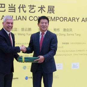 "10 Chen Jinzhong Secretary of Committee for Discipline Inspection of China Minsheng Bank and Marcos Caramuru de Paiva Brazilian Ambassador to China exchanged gifts 290x290 - Brazilian Art Landed in China: ""Troposphere"" Chinese and Brazilian Contemporary Art Exhibition opened"