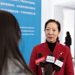 13 Ms. Wang Xiaolin Assistant President of the Central Academy of Fine Arts and Dean of the Academic Affairs Office was interviewed by journalists 290x290 - Excellence/Youth – The First Joint Exhibition Featuring Excellent Art Talent Cultivated by Art Colleges (Art & Design) was unveiled in Beijing