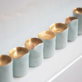 """19 Yin Xiuzhen Lachrymal Instrument No.1 porcelain gold height 3 15.8 cm dia 2.5 6.5 cm total 108 pieces 2016 290x290 - When Only Left with Future, We Can Start Again – Yin Xiuzhen's """"Back to the end"""" opened in Pace Beijing"""