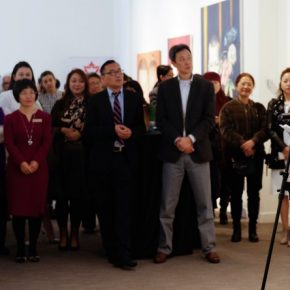 "06 Curator Dong Huiping addressed at the opening ceremony 290x290 - ""In the Mood for Love – An Exhibition Featuring Chinese and Canadian Female Artists"" Opening at Poly Culture Art Center"