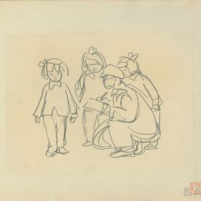 "18 Ye Qianyu Three Little Girls and Painters pencil on paper 17.4 × 23.7 cm 1958 290x290 - Drawing the Spirit: ""Is It Simply Sketching? – A Case Study of Ye Qianyu Part I"" has opened"