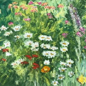 "Dorothy Knowles,Daisies , Oil on canvas ,61x76cm, 2002 多萝西·诺尔斯 《雏菊》油画 61x76cm 2002 290x290 - ""In the Mood for Love – An Exhibition Featuring Chinese and Canadian Female Artists"" Opening at Poly Culture Art Center"