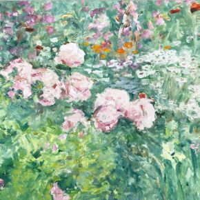 "Dorothy Knowles,Peonies,Oil on canvas, 61x76cm,1997 多萝西·诺尔斯 《牡丹》油画 61x76cm 1997 290x290 - ""In the Mood for Love – An Exhibition Featuring Chinese and Canadian Female Artists"" Opening at Poly Culture Art Center"