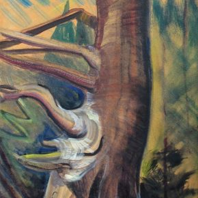 "Emily carr ,Untitled tree trunk,Oil on paper on canvas,45.7x30.5cm 埃米莉·卡尔 《无题》(树干)油画 45.7x30.5cm  290x290 - ""In the Mood for Love – An Exhibition Featuring Chinese and Canadian Female Artists"" Opening at Poly Culture Art Center"
