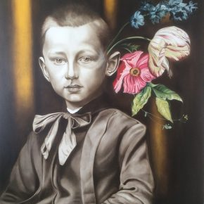 "Marianna Gartner,Boy with flowers for brains1,Oil on canvas, 213x152cm,2016 玛丽安娜·加特纳《男孩与花1》油画 213x152cm 2016 290x290 - ""In the Mood for Love – An Exhibition Featuring Chinese and Canadian Female Artists"" Opening at Poly Culture Art Center"