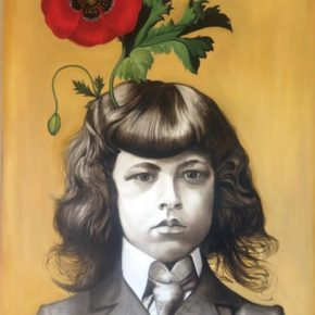 "Marianna Gartner ,Boy with flowers for brains 3, Oil on canvas, 183x122cm ,2017玛丽安娜·加特纳 《男孩与花3》油画 183x122cm 2017  290x290 - ""In the Mood for Love – An Exhibition Featuring Chinese and Canadian Female Artists"" Opening at Poly Culture Art Center"