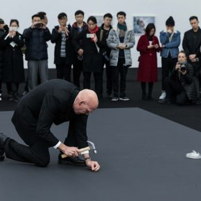 "01 Nigel Rolfe performed the ""Dissonance at the Red Brick Art Museum  290x290 - ""The Time is Now"": Nigel Rolfe's Performance Art Debuts in China"