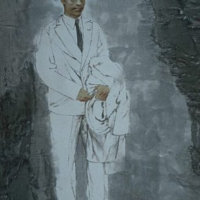 """03 Wang Yingsheng """"University Series – Wu Mi"""" ink and color on paper 220 × 120 cm 2002 290x290 - Wang Yingsheng: From """"University Series"""" to """"Creating Portraits of Model Workers"""""""