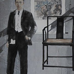 """04 Wang Yingsheng """"University Series – Chen Yinque"""" ink and color on paper 220 × 120 cm 2002 290x290 - Wang Yingsheng: From """"University Series"""" to """"Creating Portraits of Model Workers"""""""