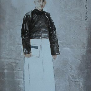 """06 Wang Yingsheng """"University Series – Hu Shi"""" ink and color on paper 220 × 120 cm 2002 290x290 - Wang Yingsheng: From """"University Series"""" to """"Creating Portraits of Model Workers"""""""