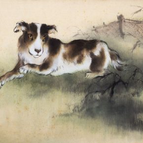 "01 Au Ho Nien New Sound of the Yellow Dog 1994 60 × 84 cm Chinese painting in the collection of National Art Museum of China 290x290 - ""In the Pursuit of Eminence in Ink and Brush"" – Au Ho-Nien's Art Exhibition opened at the National Art Museum of China"