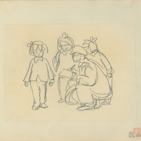 02 Ye Qianyu, Three Little Girls and a Painter, pencil on paper, 17.4 × 23.7 cm, 1958