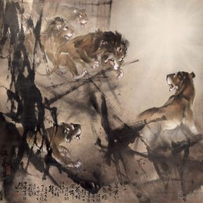 "05 Au Ho Nien Male Lions Rush Out of the Cage 184.5 × 189 cm Chinese painting 1967 in the collection of National Art Museum of China 290x290 - ""In the Pursuit of Eminence in Ink and Brush"" – Au Ho-Nien's Art Exhibition opened at the National Art Museum of China"