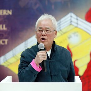 "05 Xu Zhengfu Chairman of Guan Xiang Art Gallery delivered a speech at the opening ceremony 290x290 - The Large-Scale Comprehensive Art Project ""Qiu's Notes on the Colorful Lantern Scroll Project"" Has Finished"