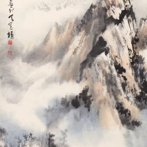 "06 Au Ho Nien The Sunny Day after a Snow in Yushan Mountains 142 × 79 cm Chinese painting 2017 in the collection of National Art Museum of China 290x290 - ""In the Pursuit of Eminence in Ink and Brush"" – Au Ho-Nien's Art Exhibition opened at the National Art Museum of China"