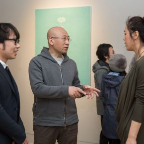 "07 Artist Yan Laichao left Feng Haitao Deputy Dean of the Institute of Continuing Education middle Zhang Yanzi Exhibition Director right 290x290 - Studying the Nature of Things: ""Detachment"" The Second Exhibition of CAI Young Artist Laboratory Opened"