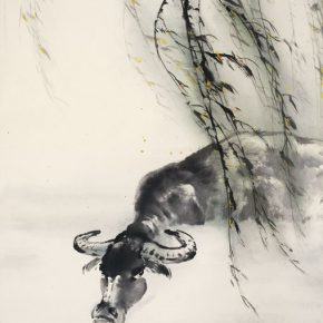 "07 Au Ho Nien The Bath of a Cow 125 x 63 cm 2015 Chinese painting in the collection of National Art Museum of China 290x290 - ""In the Pursuit of Eminence in Ink and Brush"" – Au Ho-Nien's Art Exhibition opened at the National Art Museum of China"